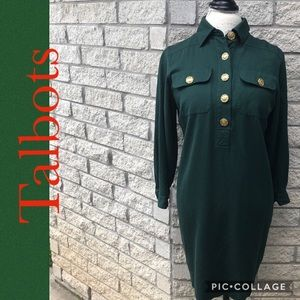 Collared Green Dress with Gold Buttons B11